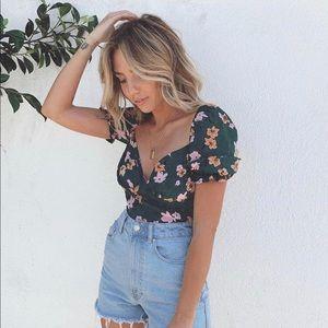 Flynn Skye puff sleeve floral print blouse